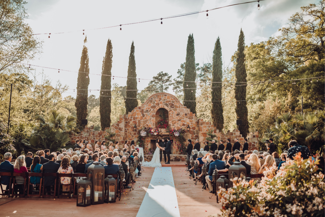 Wedding Ceremony in Front of Grand Fireplace near Houston, TX