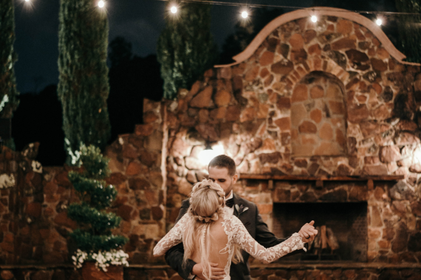 Wedding Dance in Front of Grand Fireplace