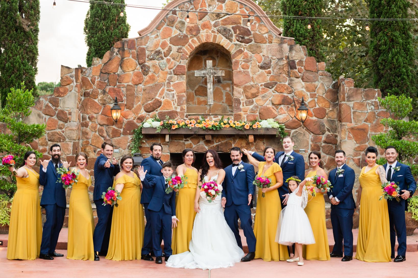 Yellow Bridesmaids Dresses Madera Estates in Conroe, Texas